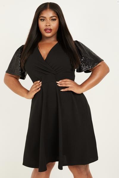 Curve Black Sequin Sleeve Skater Dress